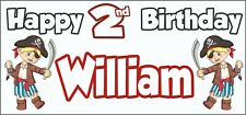 Boy Pirate 2nd Birthday Banner x 2 - Party Decorations - Personalised ANY NAME