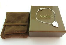 Gucci Sterling Silver Heart Tag Bracelet with Gucci Pouch Box