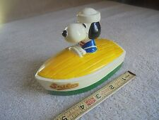 "Vtg Snoopy Sailor Boat Bank Rubber Stopper Ceramic 4"" Tall Peanuts Figure"