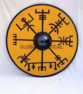 "Viking Shield 30"" Norse Compass Design round Shape Wooden Battle Ready Shields"