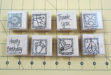 Stampin Up Anytime Greetings Stamp Set of 8 Sailboat Holly Acorn Teddy Angel