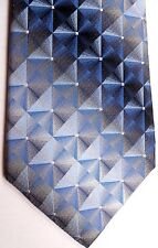 "John Ashford Men's Silk Tie 59.5 X 3.75"" Multi-Color Geometric w/ Shaded Stripes"