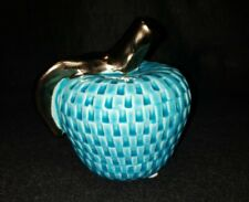 Ceramic Glazed Teal Apple Paperweight Decoration