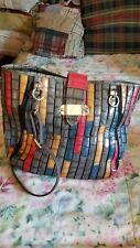 Black Rivet Grey Multicolored Striped Tote/Handbag w/Silver Trim