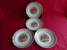4 assiettes plates en céramique,scéne galante,marquis,marquise (2)
