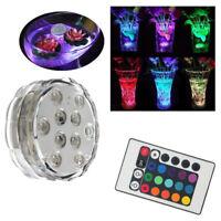 10 LED RGB Multi Color Aqua Submersible Base Candle Light Up Lamp + Remote Y9C3