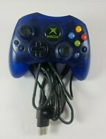 Original Xbox Controller S Wired Translucent Blue Clear Microsoft X09-64241-01