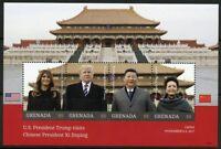 GRENADA  2018 PRESIDENT TRUMP VISITS CHINESE PRESIDENT XI JINPING SHEET  MINT NH