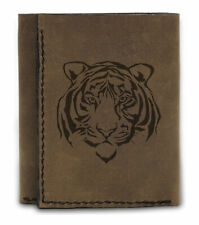100% Handmade Natural Leather Blocking Trifold Wallet Tiger Face Tattoo MHLT_07
