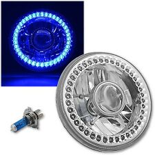 """7"""" Motorcycle Crystal Clear SC Blue LED Halo Projector Halogen Headlight Lamp"""