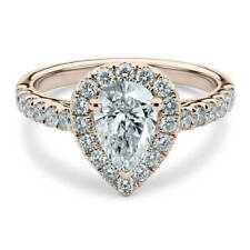 Lovely 14K Rose Gold 1.35 Carat Pear Cut Moissanite with Accents Halo Ring