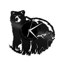 Mama Bear with Baby Vinyl Wall Clock Animals Lovers Unique Gift Home Decoration