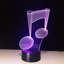 7 Color 3D Music Note LED Lamp Night Light Home Decor USB LED Music Lovers Gift