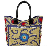Indian Cotton Woman Tote Shoulder Suzani Embroidery Art Handbag Beach Boho Bag