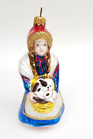 """VINTAGE WIZARD OF OZ DOROTHY HOLDING TOTO GLASS CHRISTMAS ORNAMENT 5.5"""""""