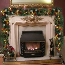 XMAS LARGE 9FT LUXURY LIGHT UP LED PRE LIT GARLAND DECORATED CHRISTMAS DECOR