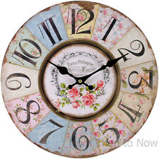 Chic Shabby Large 34cm French Floral Rose Vintage Wooden Paris Wall Clock Rustic