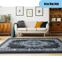 """5'3"""" x 7'6"""" Traditional Woven Area Rug High Pile Bordered Oriental Design Gray"""