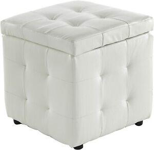 Pouf cubo panca in ecopelle bianca con contenitore e piedini alta qualità