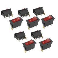 10Pcs 3 Pin SPST Neon Light On/Off Rocker Switch AC 250V/10A 125V/15A N3
