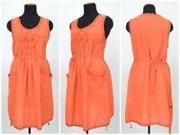 Womens Gudrun Sjoden Orange Tunic Dress Belt Cotton Linen Pocket Size L