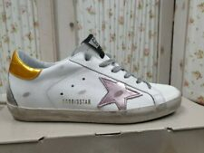 Golden Goose Women Shoes White Leather Metallic Sneakers 100% Authentic