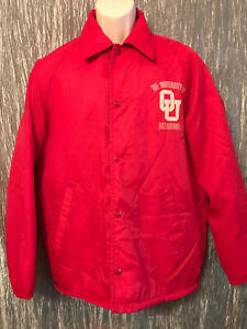 VTG The Warm Up OU University Oklahoma Snap Front Insulated Coat Jacket Red Md