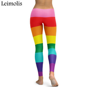 LADIES 3DPRINT RAINBOW STRIPED GOTHIC PLUS SIZE PARTY SPORT LEGGINGS GIFT SUMMER