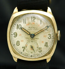 ROTARY 24HR Pilot WAR Military Solid 9K GOLD CASE VTG RARE MENS WATCH Swiss 15J
