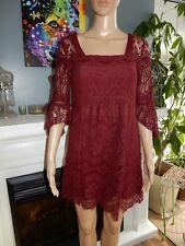 Free People Burgundy Dress Lace Overlay Crochet Tunic Top Lined XS EUC