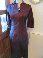 Amaranto collared stretch bodycon burgundyzip front  40s dress size 10