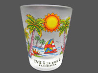 Miami Florida Tropical Beach Theme Frosted Standard Shot Glass Collectible Bar