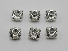 50 Silver Clear Crystal Glass Rose Montees 8mm Sew on Rhinestones Beads