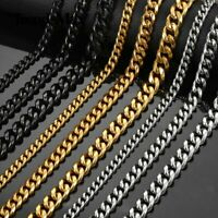 6/9/11mm Stainless Steel Curb Cuban Link Chain Necklace Men Boys Jewelry 18-30""
