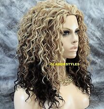 Curly Golden Blonde Brown Mix Heat Ok 3/4 Half Fall Wig Full Hair Piece #DF1009