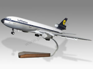 McDonnell Douglas DC-10-40 Lufthansa Gear & Flaps Down Solid Wood Display Model