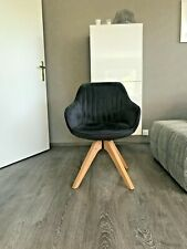 Upholstered Chair Armchair Swivel Solid Wood Frame Rotating Anthracite Retro