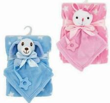 Lovey Baby Blanket Security Toy Blanket & Teether Pink Bunny or Blue Puppy Dog