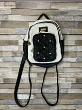 Betsey Johnson Backpack Black White Faux Pearls Faux Leather Heart Stitched