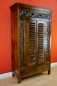 Teak Holz Schrank Kleiderschrank Massivholz Wohnzimmer Wandschrank massiv braun