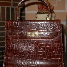 Gorgeous! Vintage Dark Brown embossed Alligator Kelly Bag