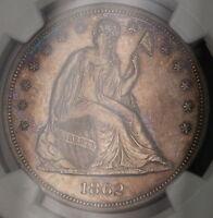 1862 Seated Liberty Silver Dollar $1 Coin NGC UNC Details BU CW Civil War