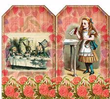 "SET OF 12 (2""X3.25"") ALICE IN WONDERLAND (32) SCRAPBOOK CARD HANG GIFT TAGS"