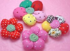 16 Mixed Cute Padded Dots/Printed Fabric Flower Appliques