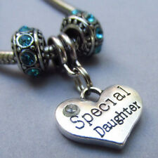 Special Daughter Heart Charm And Birthstone European Beads For Charm Bracelets
