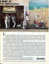 1975 Kawasaki KZ-400D Motorcycle Teds Auto Repair Let The Good Times Roll Ad