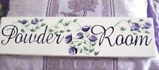 Chic and Shabby Sign Powder Room Purple Roses Handpainted
