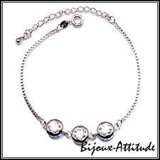 Bracelet femme ESTELLE zircons rhodium L17 à 22,5 cm