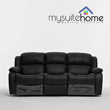 Kacey Black Leather 3 Seater Entertainment Recliner Home Theatre Sofa Lounge