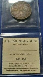 1887 GREAT BRITAIN Double Florin Silver Coin Queen Victoria ICCS VF-30